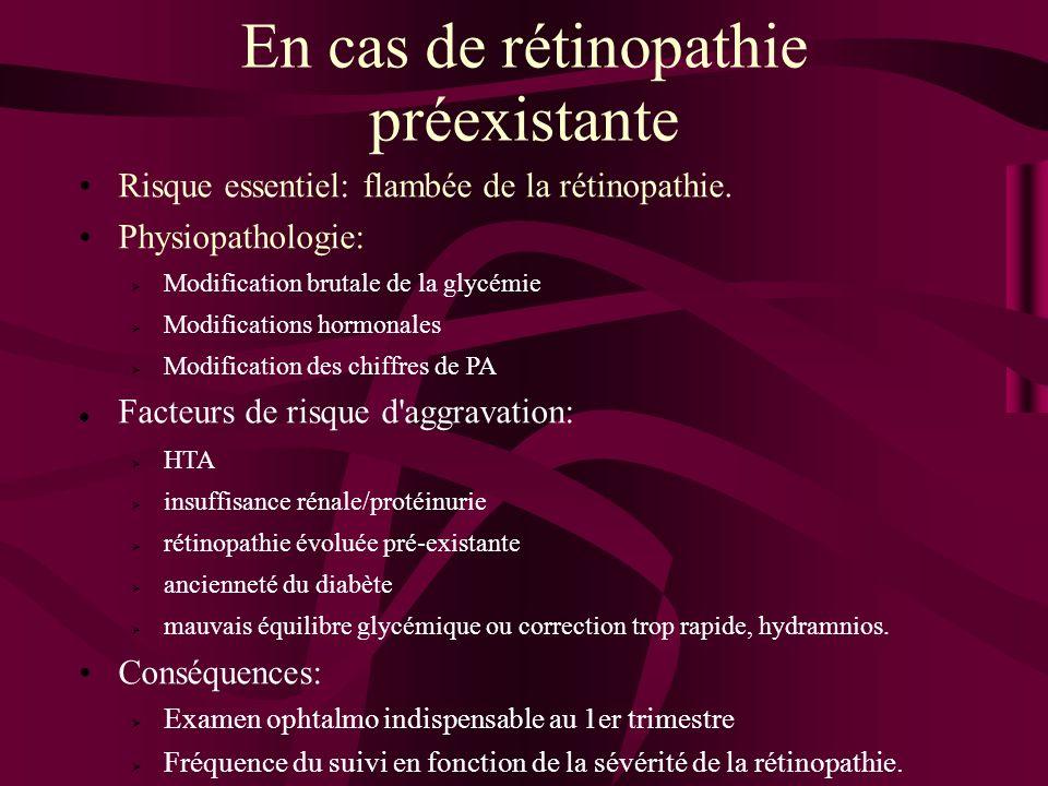 En cas de rétinopathie préexistante Risque essentiel: flambée de la rétinopathie. Physiopathologie: Modification brutale de la glycémie Modifications
