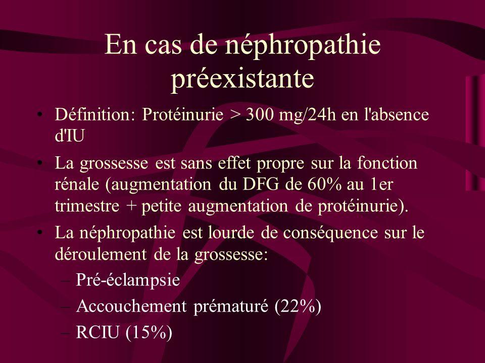 En cas de néphropathie préexistante Définition: Protéinurie > 300 mg/24h en l'absence d'IU La grossesse est sans effet propre sur la fonction rénale (