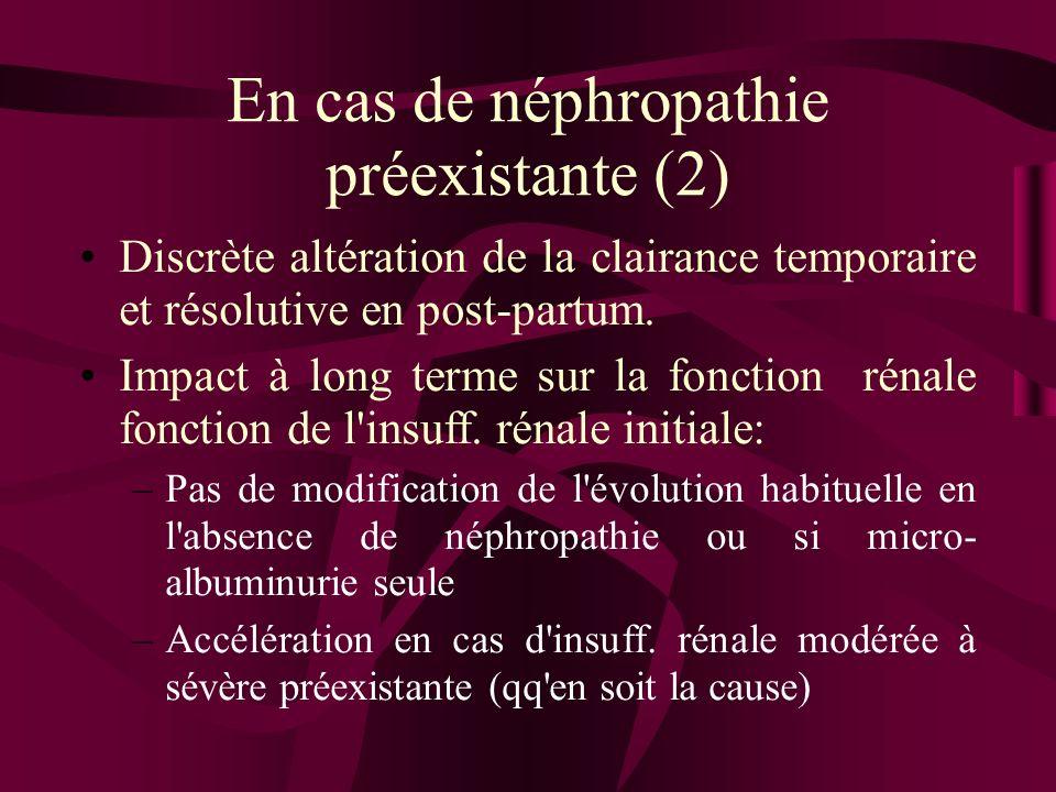En cas de néphropathie préexistante (2) Discrète altération de la clairance temporaire et résolutive en post-partum. Impact à long terme sur la foncti