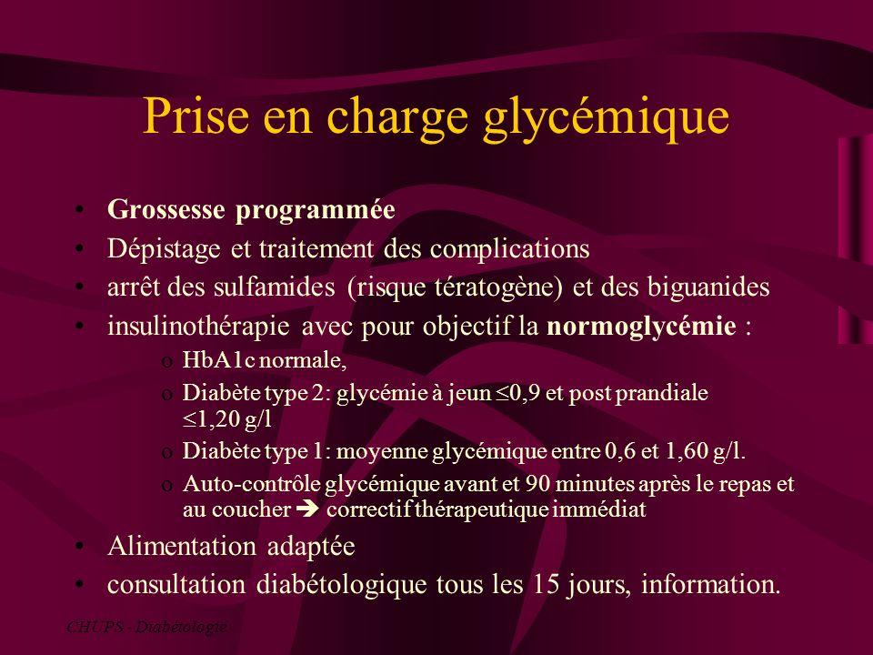 Prise en charge glycémique Grossesse programmée Dépistage et traitement des complications arrêt des sulfamides (risque tératogène) et des biguanides i