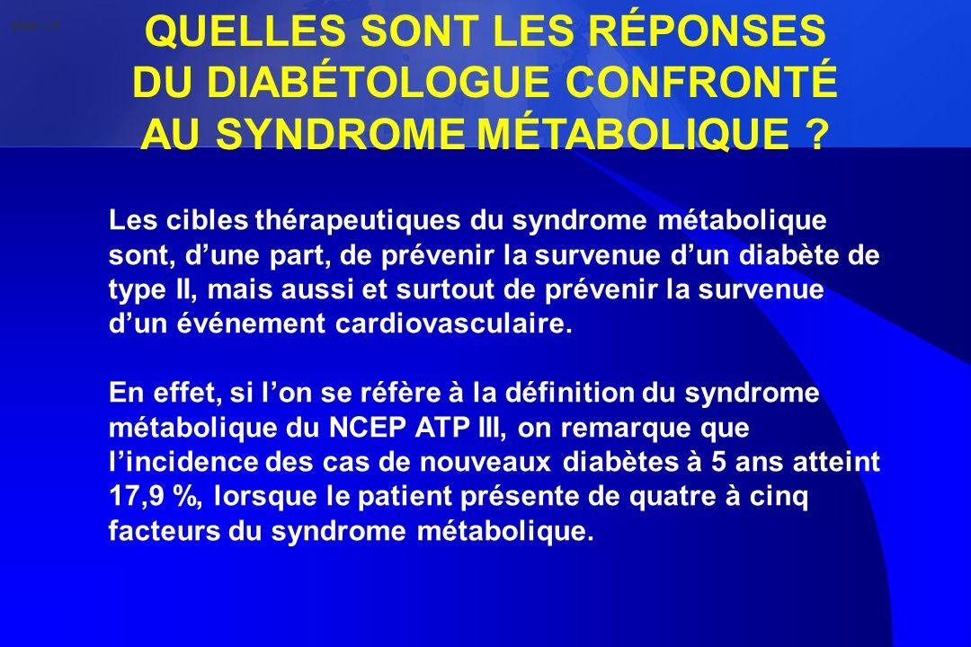 QUELLES SONT LES RÉPONSES DU DIABÉTOLOGUE CONFRONTÉ AU SYNDROME MÉTABOLIQUE ? Les cibles thérapeutiques du syndrome métabolique sont, dune part, de pr