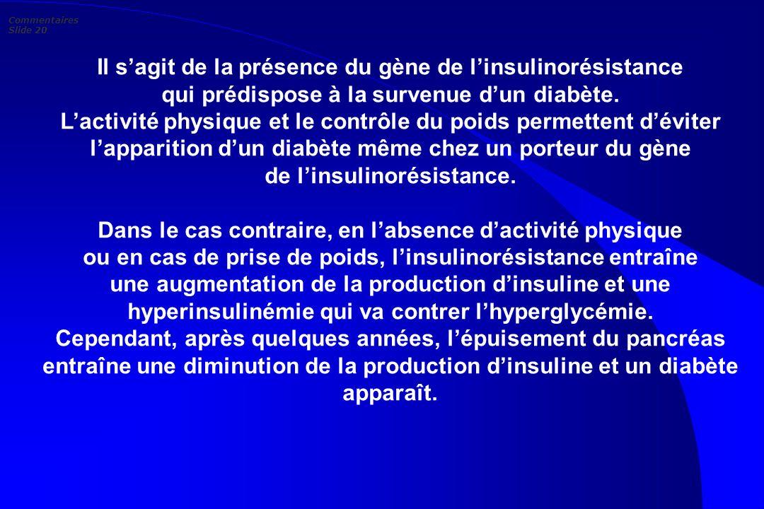 Il sagit de la présence du gène de linsulinorésistance qui prédispose à la survenue dun diabète. Lactivité physique et le contrôle du poids permettent