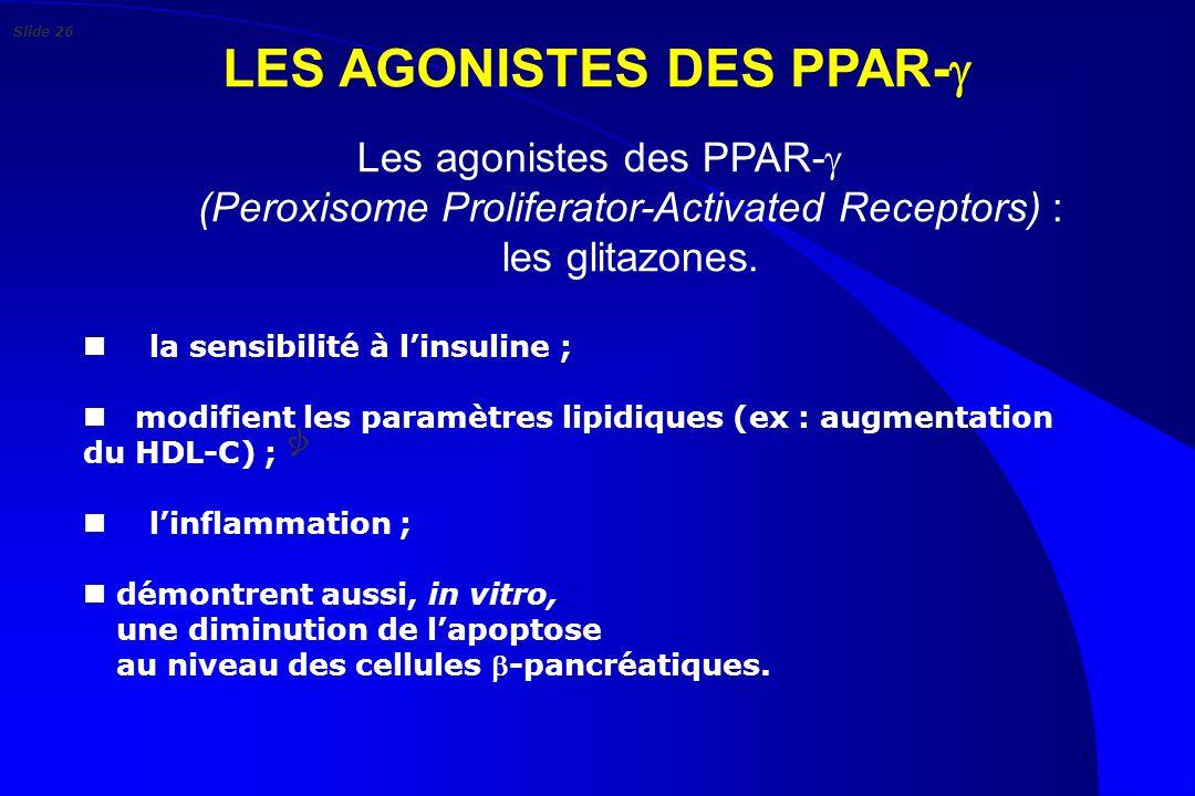 LES AGONISTES DES PPAR- Les agonistes des PPAR- (Peroxisome Proliferator-Activated Receptors) : les glitazones. n la sensibilité à linsuline ; n modif