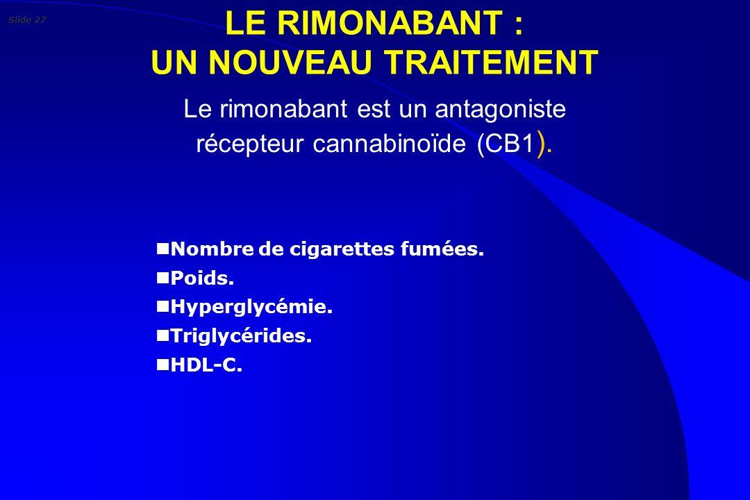 LE RIMONABANT : UN NOUVEAU TRAITEMENT Le rimonabant est un antagoniste récepteur cannabinoïde (CB1 ). n Nombre de cigarettes fumées. n Poids. n Hyperg