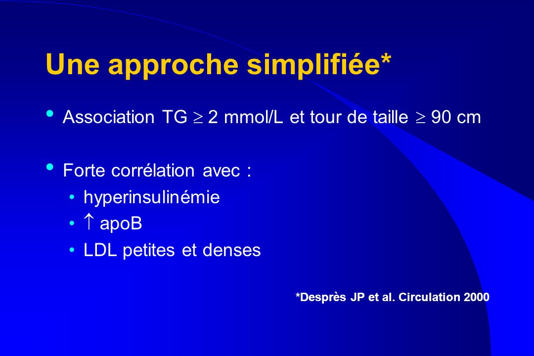 Une approche simplifiée* Association TG 2 mmol/L et tour de taille 90 cm Forte corrélation avec : hyperinsulinémie apoB LDL petites et denses *Desprès