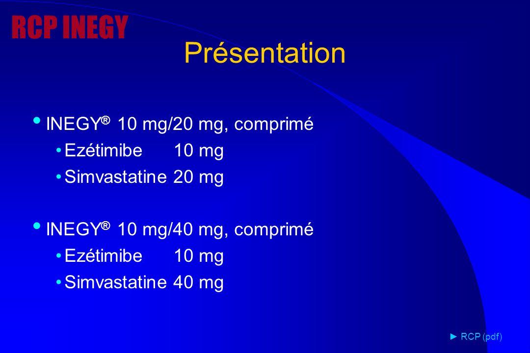 INEGY ® 10 mg/20 mg, comprimé Ezétimibe10 mg Simvastatine20 mg INEGY ® 10 mg/40 mg, comprimé Ezétimibe10 mg Simvastatine40 mg RCP (pdf) Présentation R