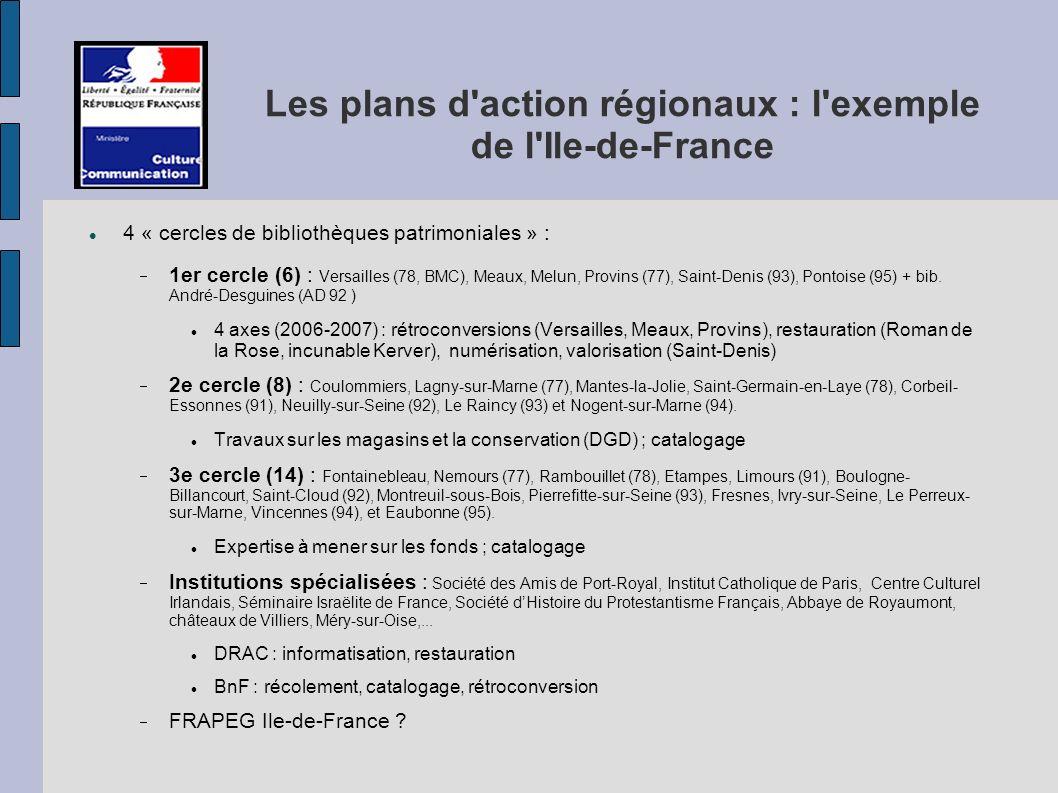 Les plans d action régionaux : l exemple de l Ile-de-France 4 « cercles de bibliothèques patrimoniales » : 1er cercle (6) : Versailles (78, BMC), Meaux, Melun, Provins (77), Saint-Denis (93), Pontoise (95) + bib.