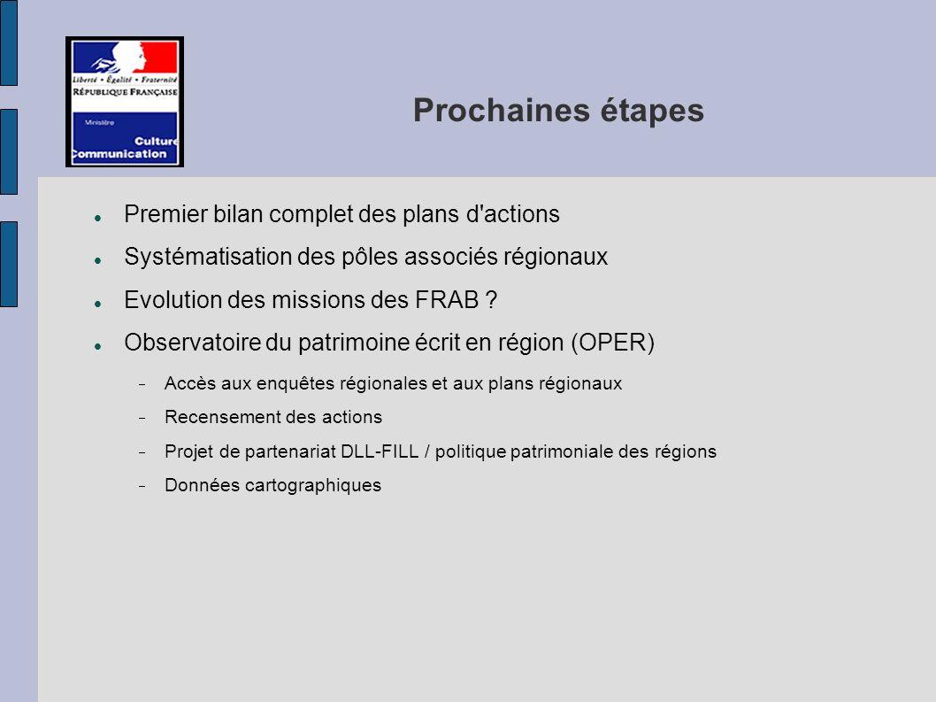 Prochaines étapes Premier bilan complet des plans d actions Systématisation des pôles associés régionaux Evolution des missions des FRAB .