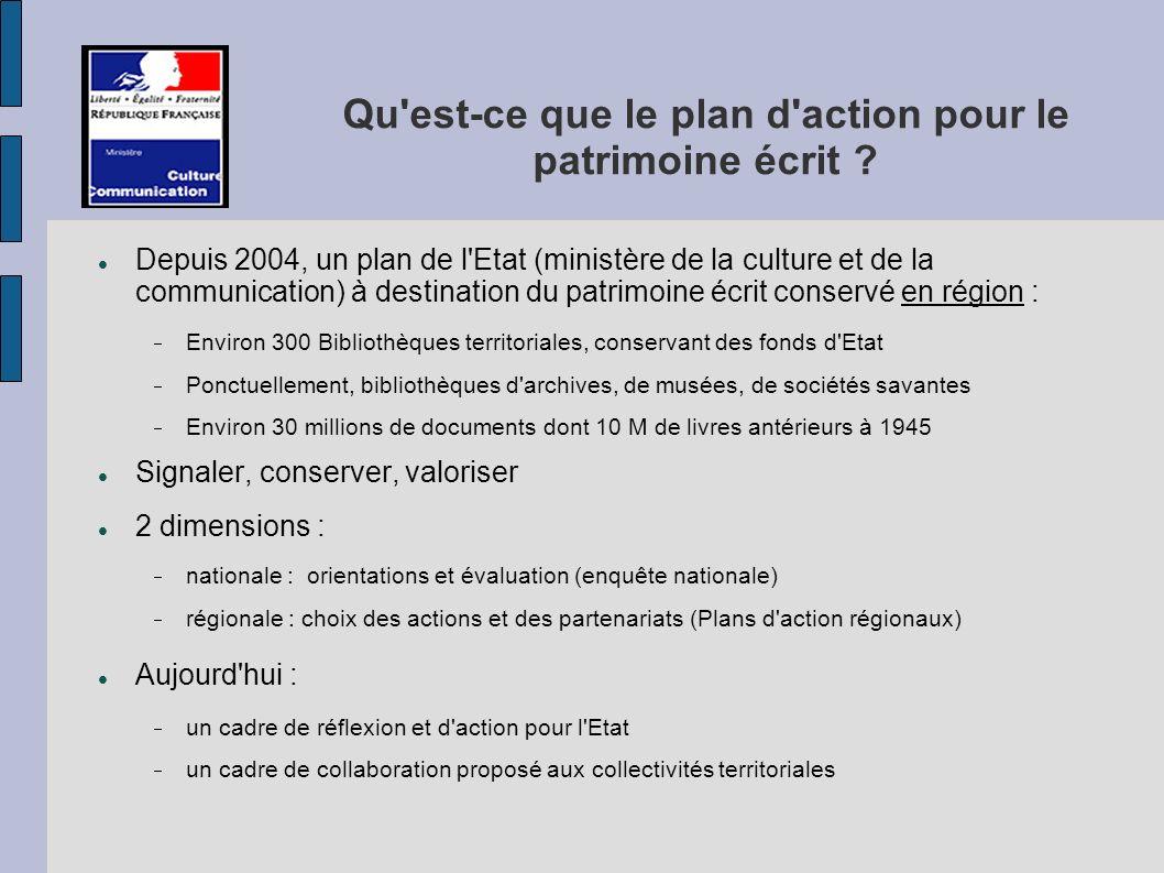 Qu est-ce que le plan d action pour le patrimoine écrit .