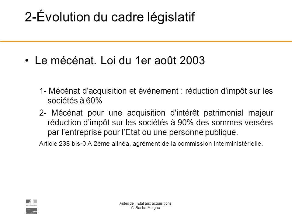 Aides de l Etat aux acquisitions C. Roche-Moigne 2-Évolution du cadre législatif Le mécénat.