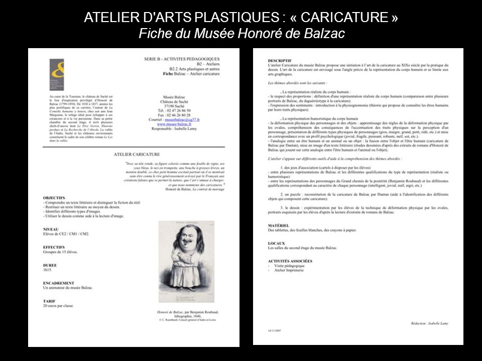 ATELIER D ARTS PLASTIQUES : « CARICATURE » Fiche du Musée Honoré de Balzac