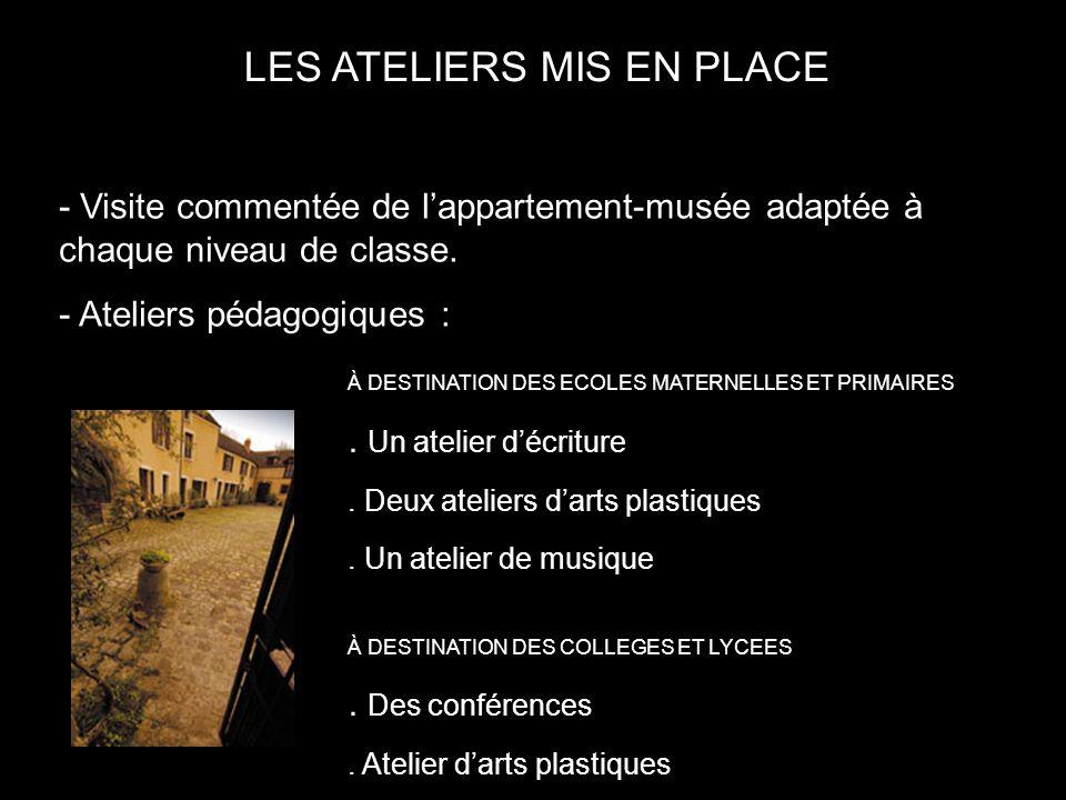 LES ATELIERS MIS EN PLACE - Visite commentée de lappartement-musée adaptée à chaque niveau de classe.