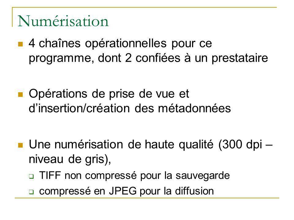 Numérisation 4 chaînes opérationnelles pour ce programme, dont 2 confiées à un prestataire Opérations de prise de vue et dinsertion/création des métadonnées Une numérisation de haute qualité (300 dpi – niveau de gris), TIFF non compressé pour la sauvegarde compressé en JPEG pour la diffusion