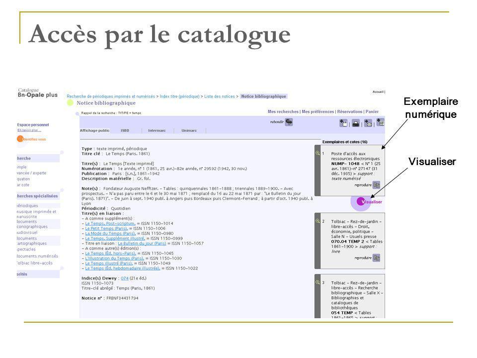 Accès par le catalogue Exemplaire numérique Visualiser