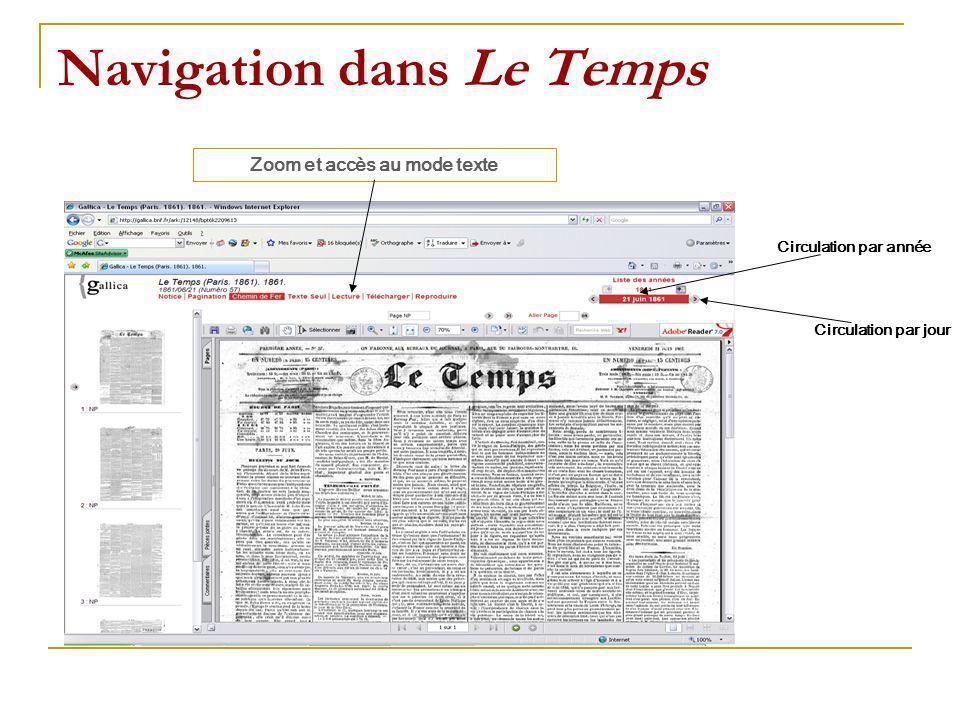 Navigation dans Le Temps Circulation par année Circulation par jour Zoom et accès au mode texte