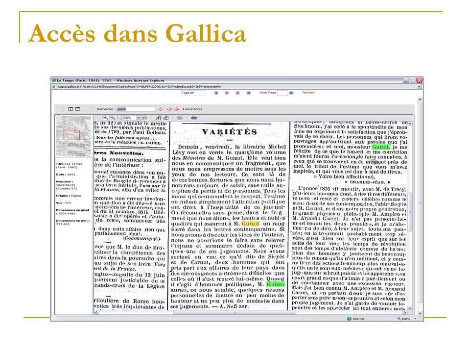 Accès dans Gallica