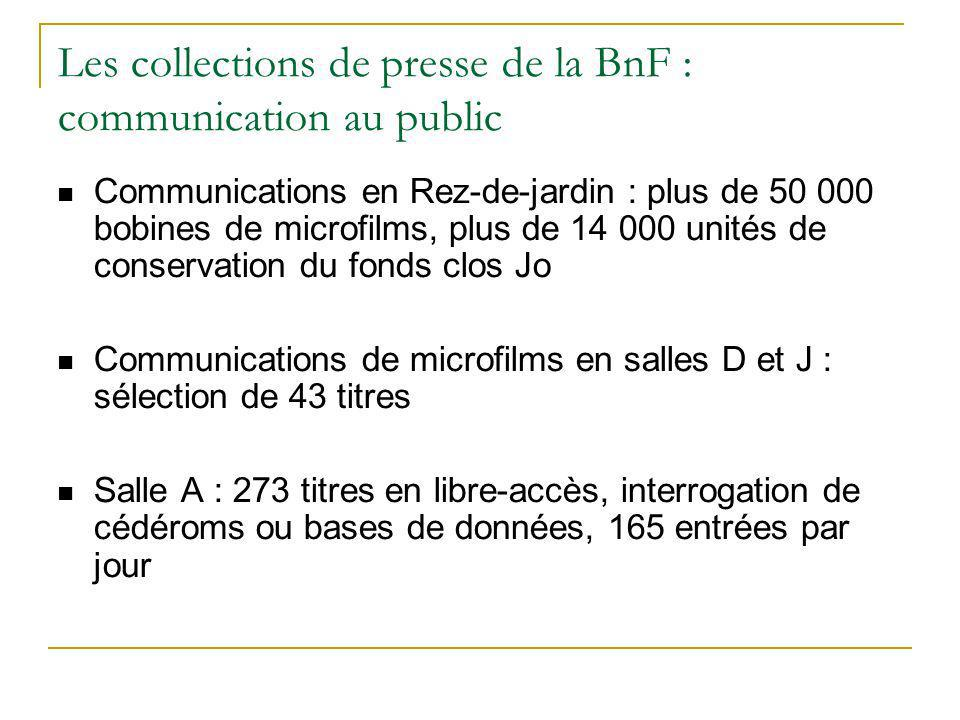 Les collections de presse de la BnF : communication au public Communications en Rez-de-jardin : plus de 50 000 bobines de microfilms, plus de 14 000 u