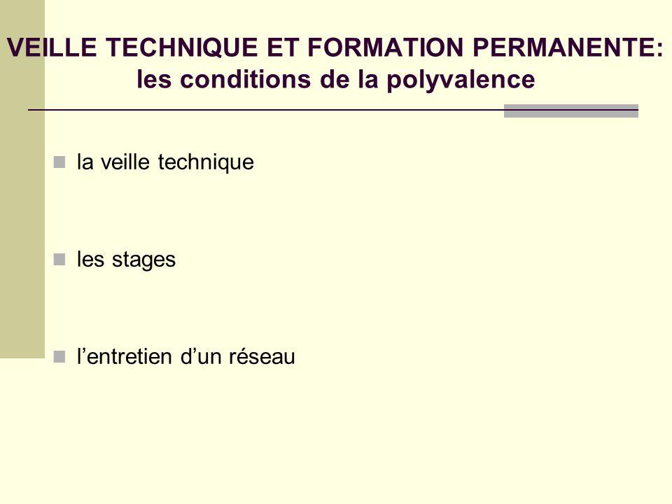 VEILLE TECHNIQUE ET FORMATION PERMANENTE: les conditions de la polyvalence la veille technique les stages lentretien dun réseau