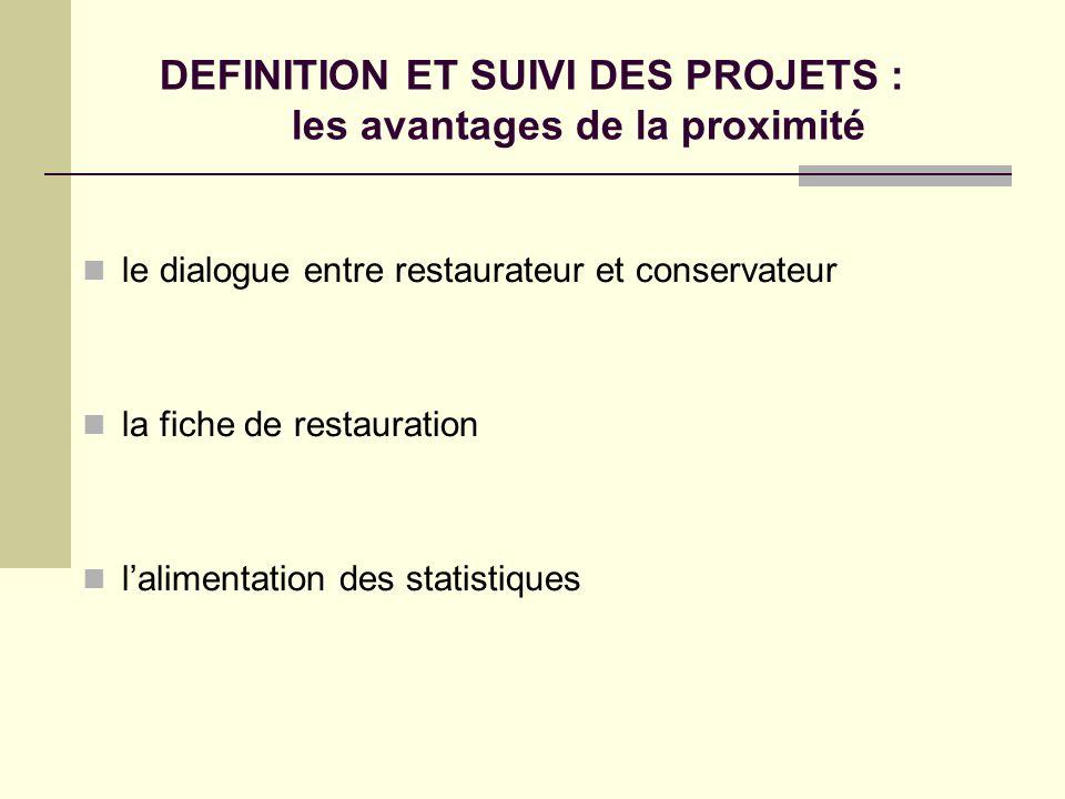 DEFINITION ET SUIVI DES PROJETS : les avantages de la proximité le dialogue entre restaurateur et conservateur la fiche de restauration lalimentation