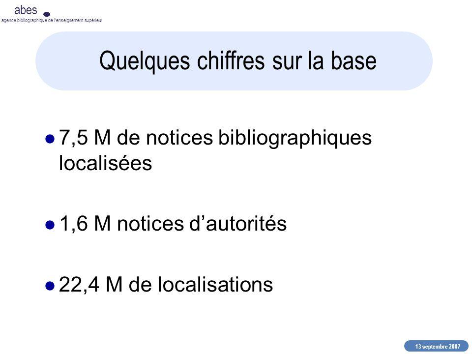 13 septembre 2007 abes agence bibliographique de lenseignement supérieur Quelques chiffres sur la base 7,5 M de notices bibliographiques localisées 1,