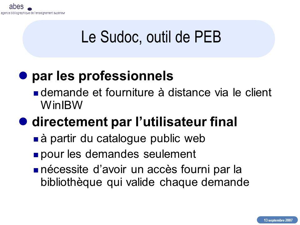 13 septembre 2007 abes agence bibliographique de lenseignement supérieur Le Sudoc, outil de PEB par les professionnels demande et fourniture à distanc