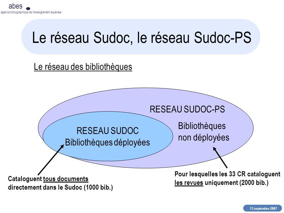 13 septembre 2007 abes agence bibliographique de lenseignement supérieur Le réseau Sudoc, le réseau Sudoc-PS RESEAU SUDOC Bibliothèques déployées RESE