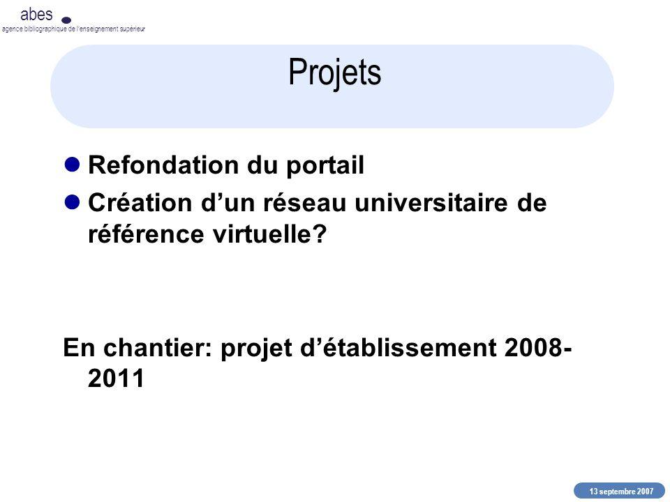 13 septembre 2007 abes agence bibliographique de lenseignement supérieur Projets Refondation du portail Création dun réseau universitaire de référence