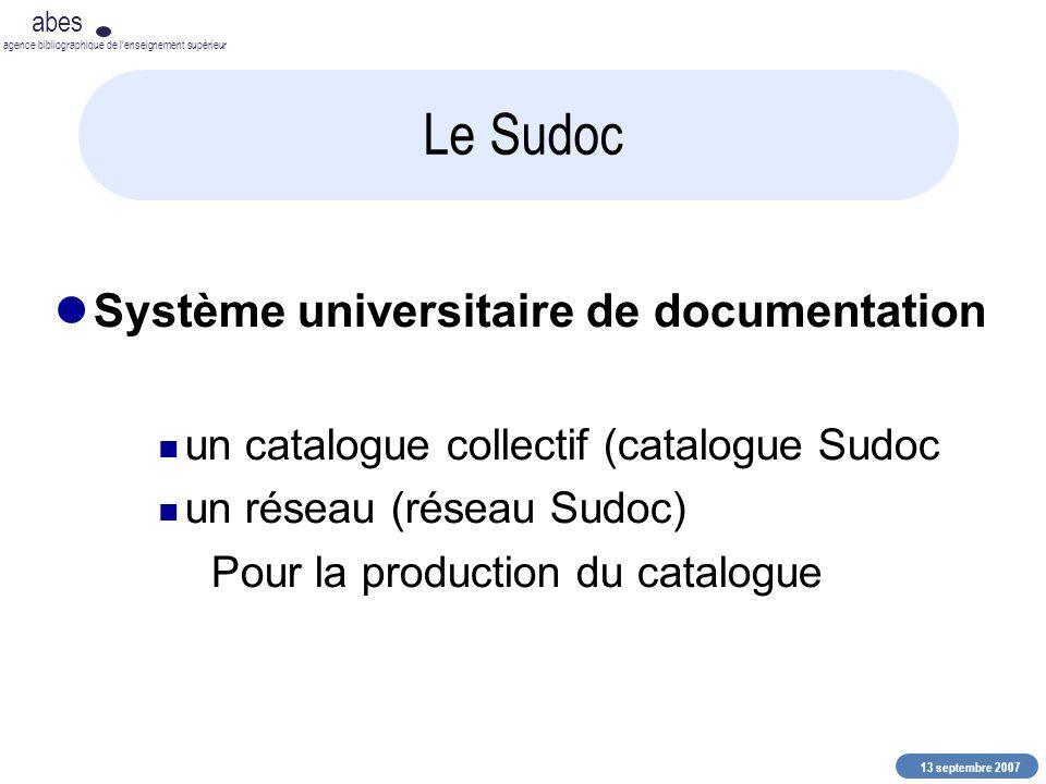 13 septembre 2007 abes agence bibliographique de lenseignement supérieur Le Sudoc Système universitaire de documentation un catalogue collectif (catal