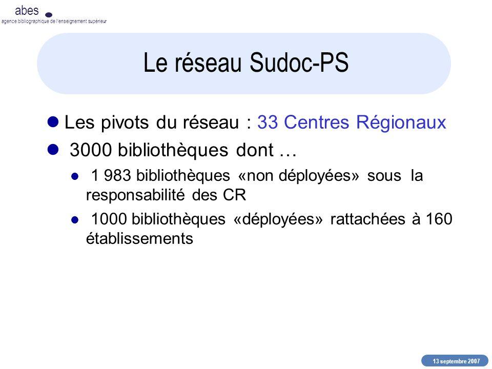 13 septembre 2007 abes agence bibliographique de lenseignement supérieur Le réseau Sudoc-PS Les pivots du réseau : 33 Centres Régionaux 3000 bibliothè
