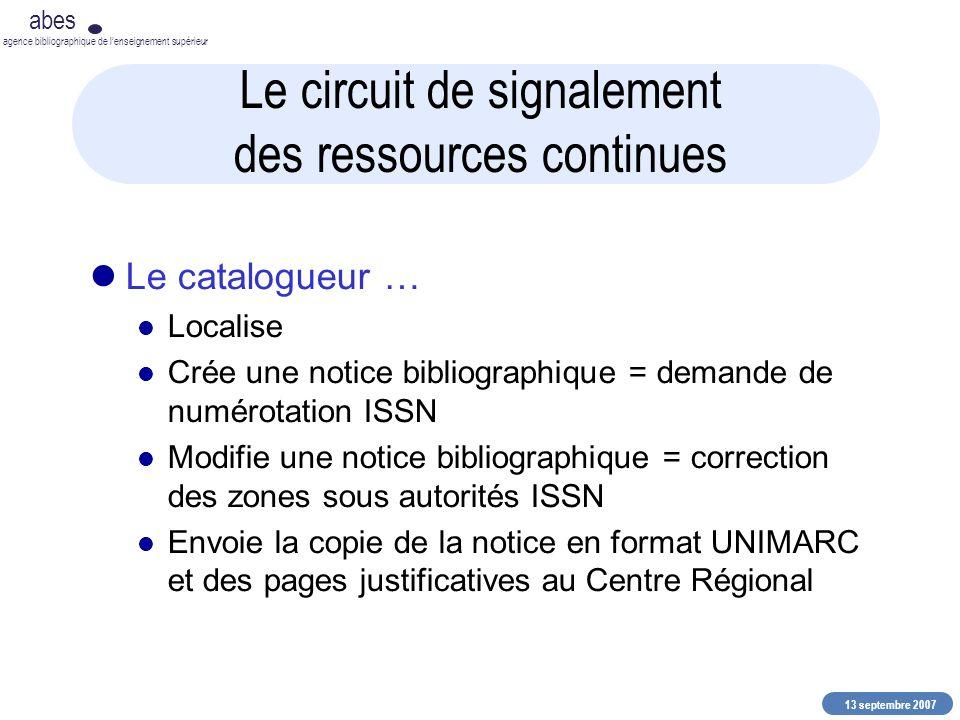 13 septembre 2007 abes agence bibliographique de lenseignement supérieur Le circuit de signalement des ressources continues Le catalogueur … Localise