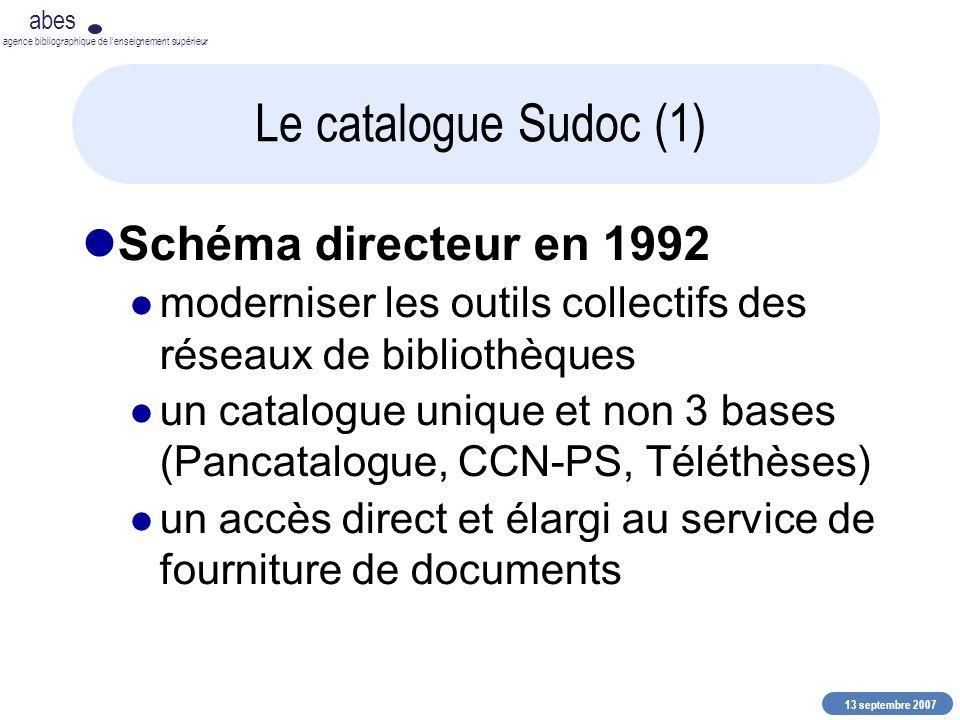 13 septembre 2007 abes agence bibliographique de lenseignement supérieur Le catalogue Sudoc (1) Schéma directeur en 1992 moderniser les outils collect