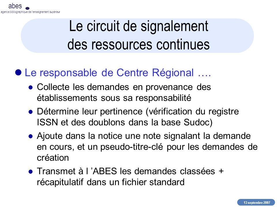 13 septembre 2007 abes agence bibliographique de lenseignement supérieur Le circuit de signalement des ressources continues Le responsable de Centre R