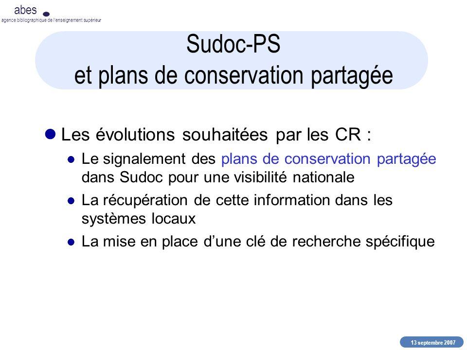 13 septembre 2007 abes agence bibliographique de lenseignement supérieur Sudoc-PS et plans de conservation partagée Les évolutions souhaitées par les