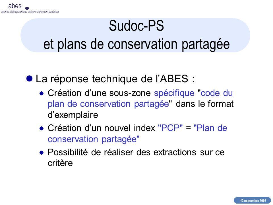 13 septembre 2007 abes agence bibliographique de lenseignement supérieur Sudoc-PS et plans de conservation partagée La réponse technique de lABES : Cr