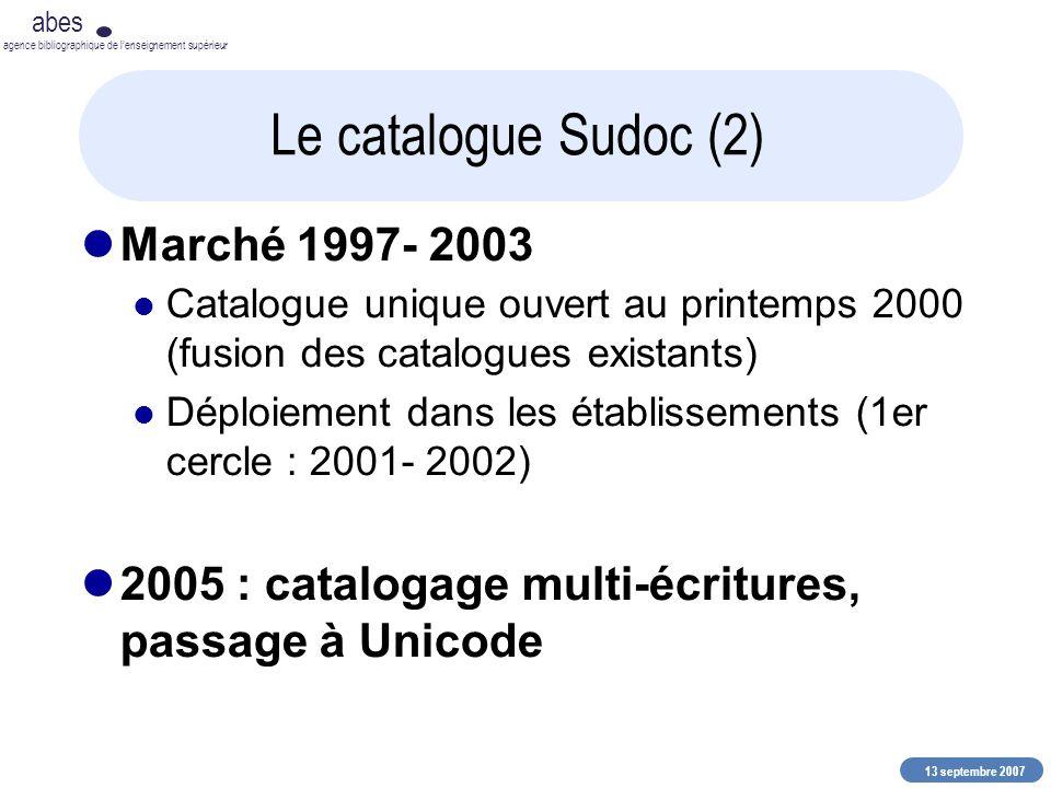 13 septembre 2007 abes agence bibliographique de lenseignement supérieur Le catalogue Sudoc (2) Marché 1997- 2003 Catalogue unique ouvert au printemps