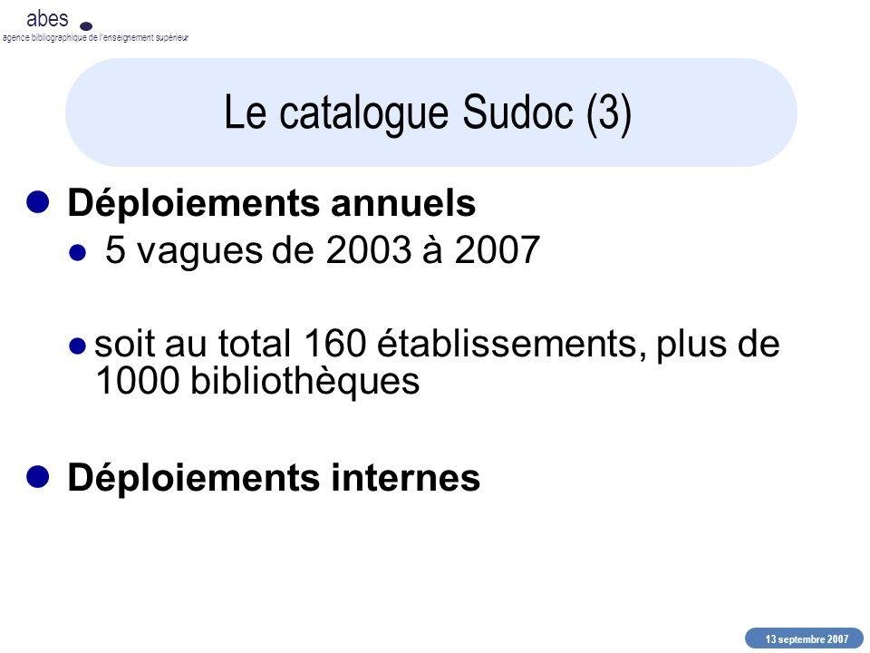 13 septembre 2007 abes agence bibliographique de lenseignement supérieur Le catalogue Sudoc (3) Déploiements annuels 5 vagues de 2003 à 2007 soit au t