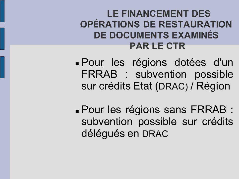 LE FINANCEMENT DES OP É RATIONS DE RESTAURATION DE DOCUMENTS EXAMIN É S PAR LE CTR Pour les régions dotées d'un FRRAB : subvention possible sur crédit