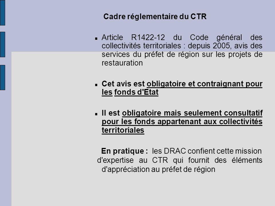 Cadre réglementaire du CTR Article R1422-12 du Code général des collectivités territoriales : depuis 2005, avis des services du préfet de région sur l