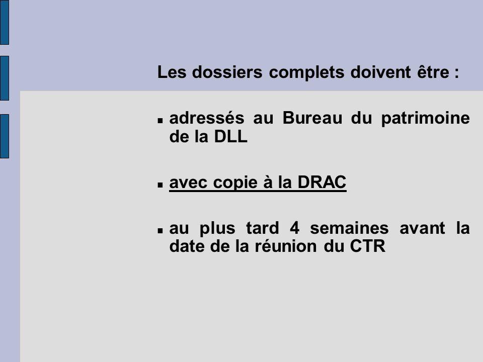 Les dossiers complets doivent être : adressés au Bureau du patrimoine de la DLL avec copie à la DRAC au plus tard 4 semaines avant la date de la réuni