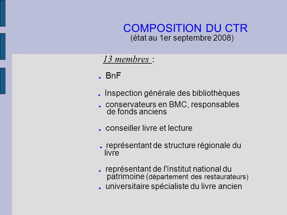 COMPOSITION DU CTR (état au 1er septembre 2008) 13 membres :. BnF. In spection générale des bibliothèques. conservateurs en BMC, responsables de fonds