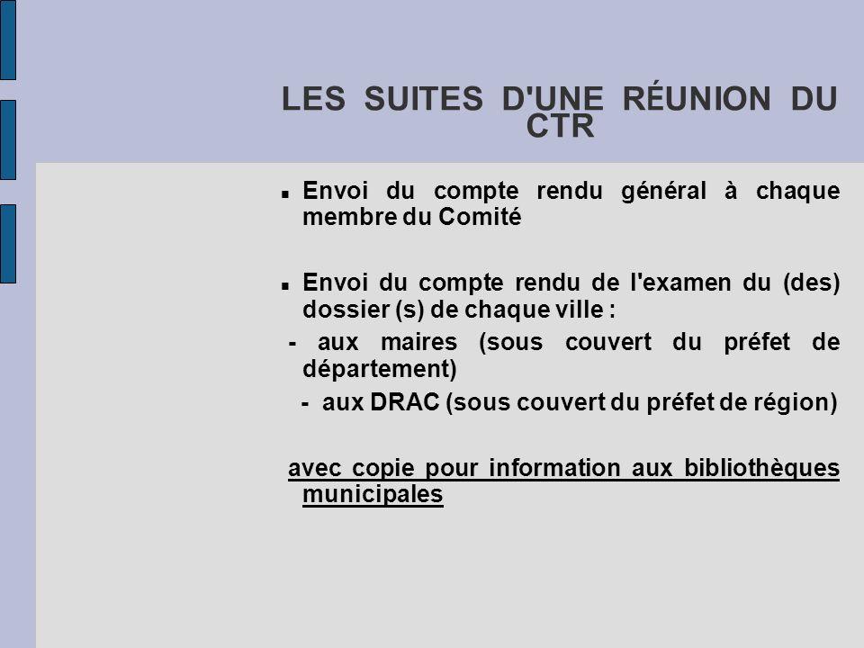 LES SUITES D'UNE R É UNION DU CTR Envoi du compte rendu général à chaque membre du Comité Envoi du compte rendu de l'examen du (des) dossier (s) de ch