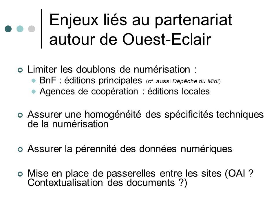 Enjeux liés au partenariat autour de Ouest-Eclair Limiter les doublons de numérisation : BnF : éditions principales (cf.