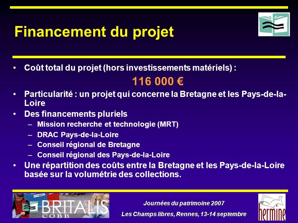 Journées du patrimoine 2007 Les Champs libres, Rennes, 13-14 septembre Financement du projet Coût total du projet (hors investissements matériels) : 1