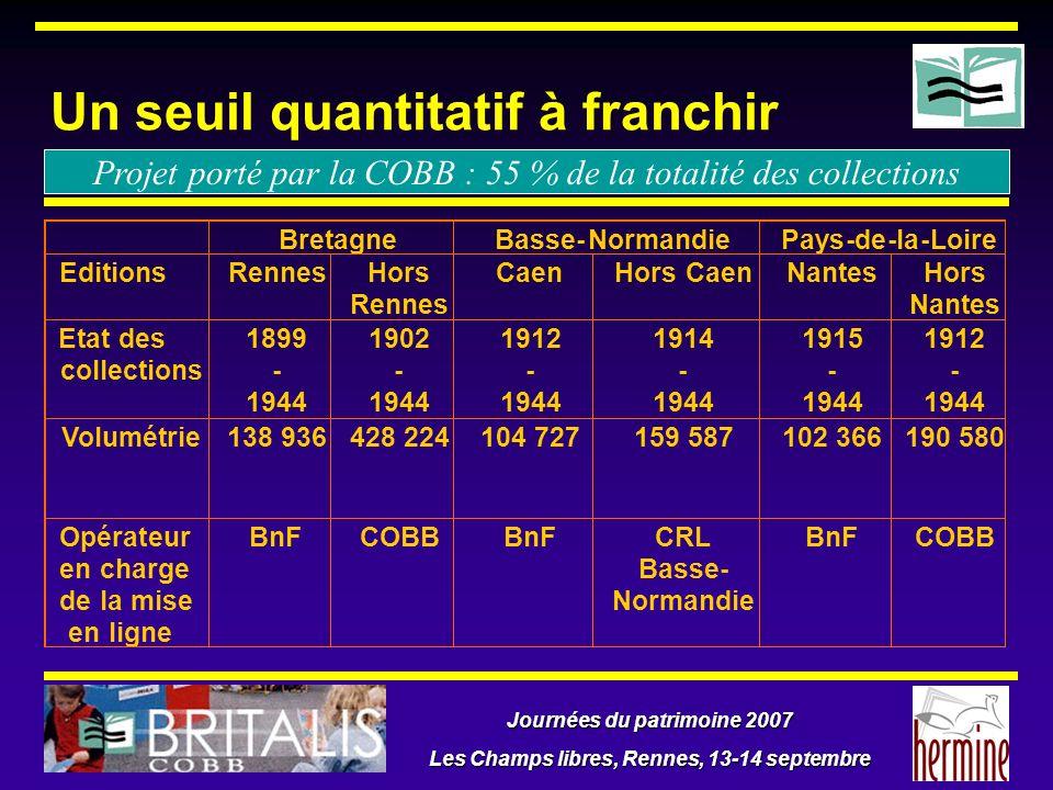 Journées du patrimoine 2007 Les Champs libres, Rennes, 13-14 septembre Un seuil quantitatif à franchir Projet porté par la COBB : 55 % de la totalité