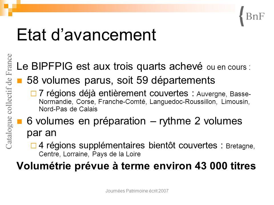 Journées Patrimoine écrit 2007 Etat davancement Le BIPFPIG est aux trois quarts achevé ou en cours : 58 volumes parus, soit 59 départements 7 régions