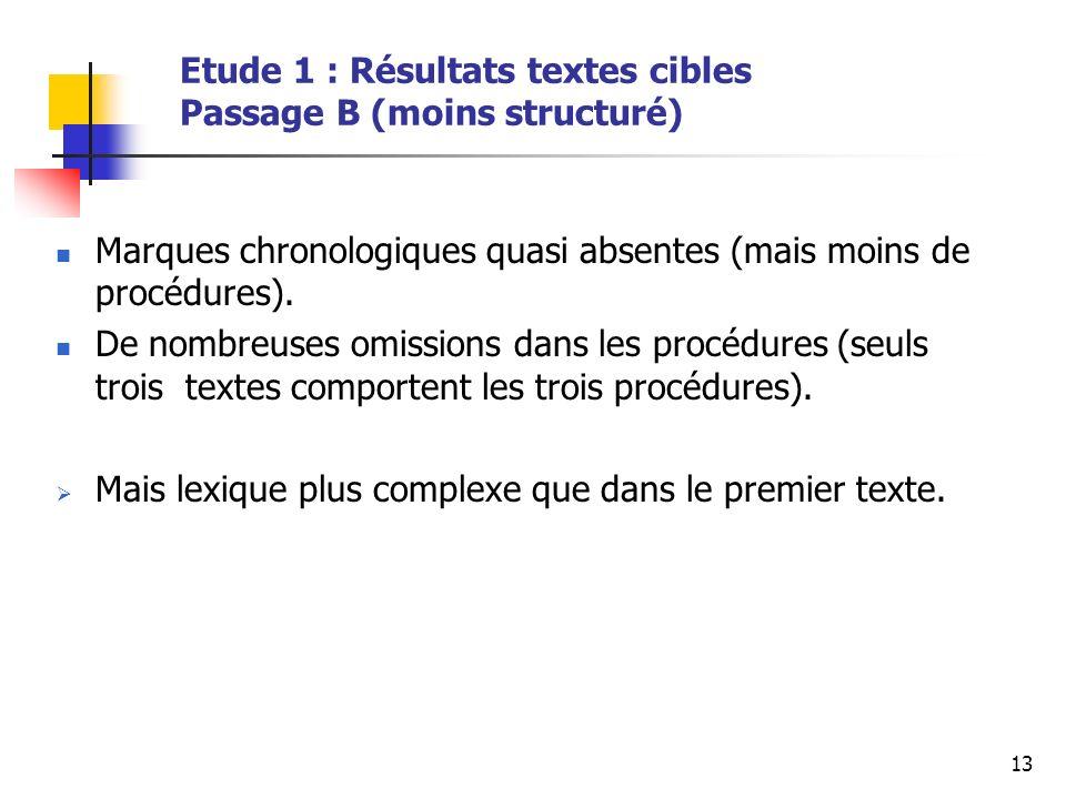 13 Etude 1 : Résultats textes cibles Passage B (moins structuré) Marques chronologiques quasi absentes (mais moins de procédures).