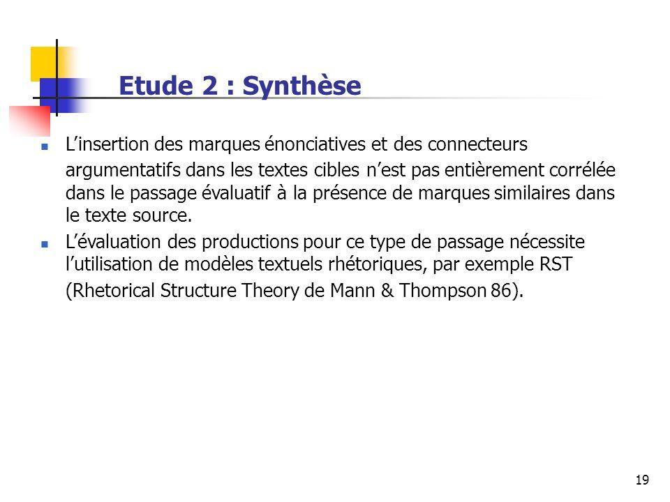 19 Etude 2 : Synthèse Linsertion des marques énonciatives et des connecteurs argumentatifs dans les textes cibles nest pas entièrement corrélée dans le passage évaluatif à la présence de marques similaires dans le texte source.