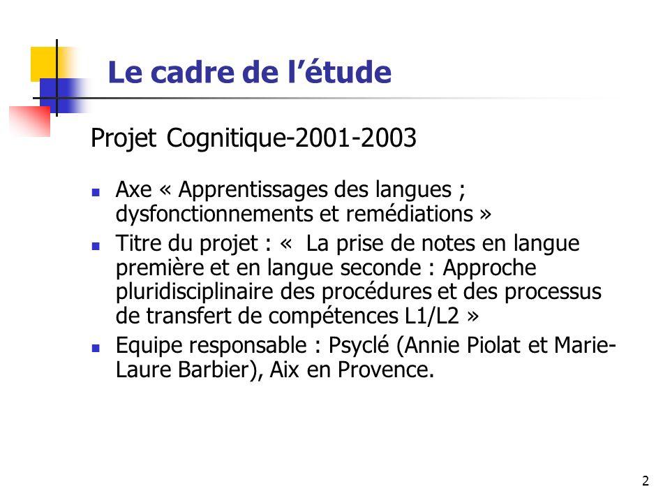 2 Le cadre de létude Projet Cognitique-2001-2003 Axe « Apprentissages des langues ; dysfonctionnements et remédiations » Titre du projet : « La prise de notes en langue première et en langue seconde : Approche pluridisciplinaire des procédures et des processus de transfert de compétences L1/L2 » Equipe responsable : Psyclé (Annie Piolat et Marie- Laure Barbier), Aix en Provence.