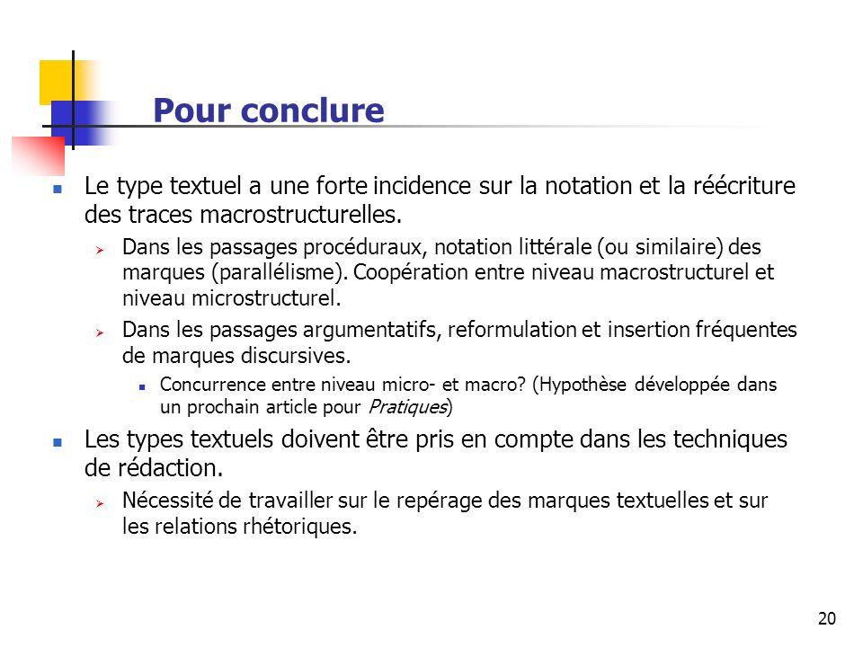 20 Pour conclure Le type textuel a une forte incidence sur la notation et la réécriture des traces macrostructurelles.