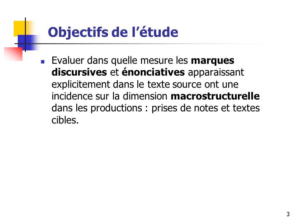 3 Objectifs de létude Evaluer dans quelle mesure les marques discursives et énonciatives apparaissant explicitement dans le texte source ont une incidence sur la dimension macrostructurelle dans les productions : prises de notes et textes cibles.